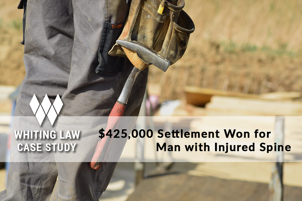 $425,000 Settlement Won for Man with Injured Spine